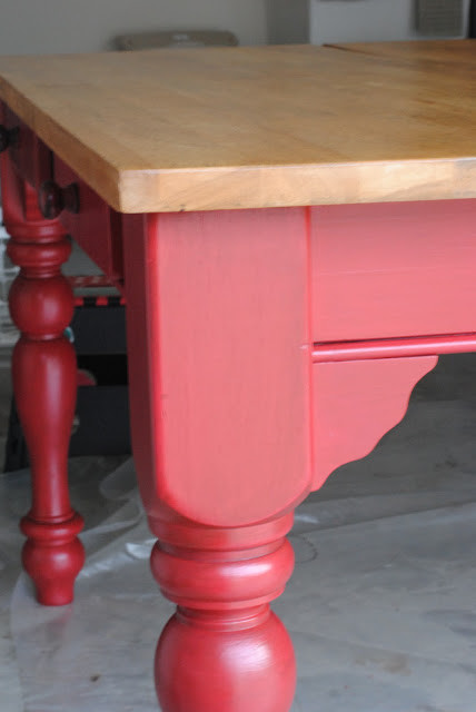 Red Kitchen Table Farmhouse