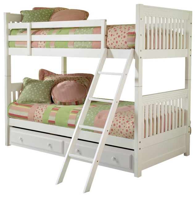 Hilale Lauren Bunk Bed With Trundle Storage In White Traditional Beds