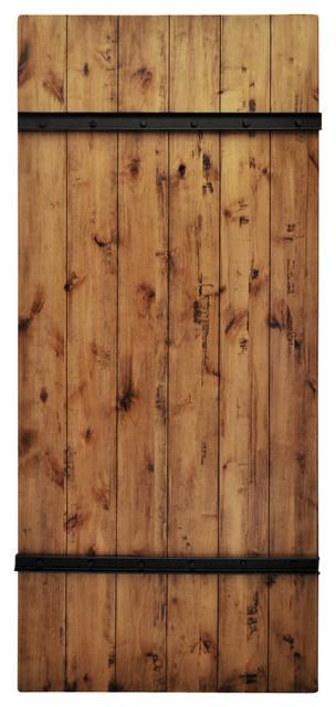 Dogberry Drawbridge Sliding Barn Door and Hardware, Aged Oak