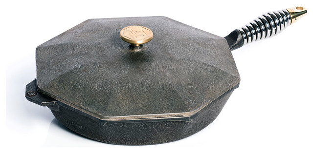 "Finex 12"" Cast Iron Skillet And Lid."