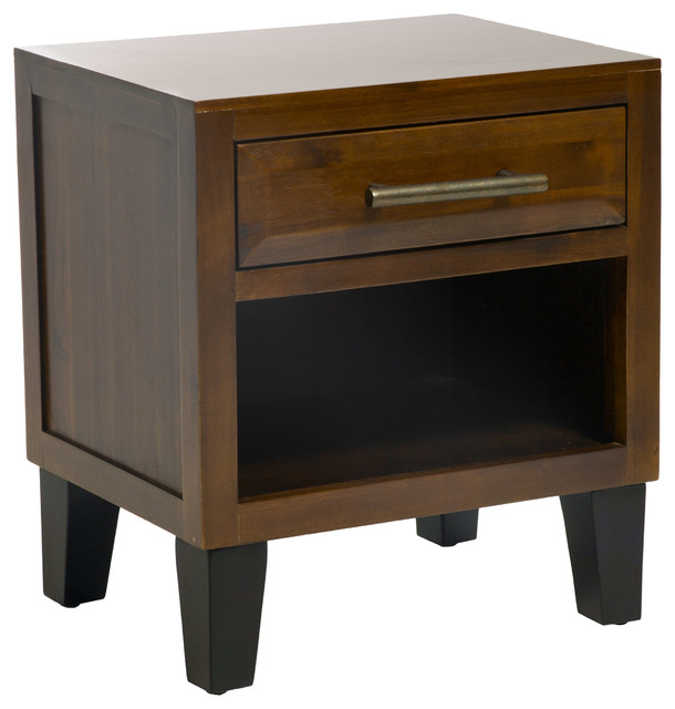 Glendora Brown Mahogany Solid Wood Single Drawer End Table Nightstand  Contemporary Nightstands And