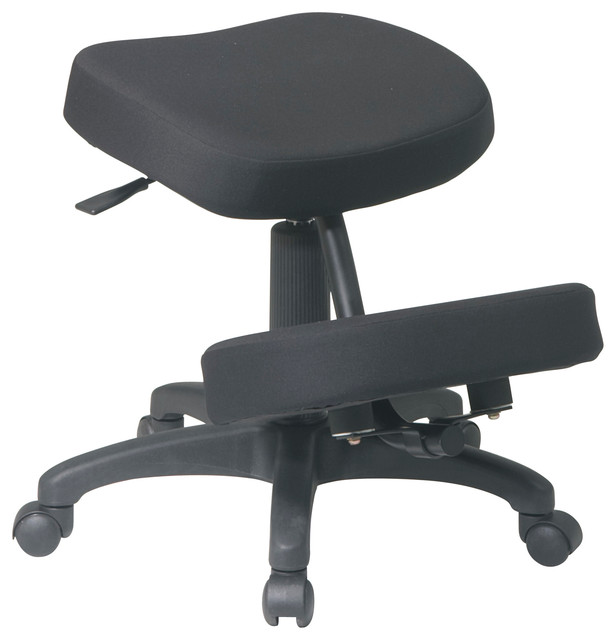 Ergonomically Designed Knee Chair With 5 Star Base, Dual Wheel Carpet Casters.