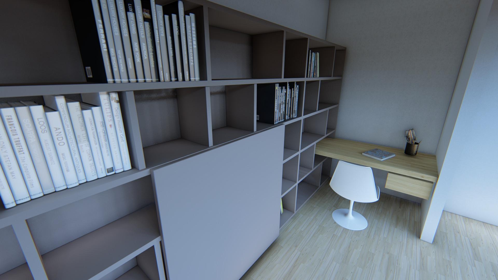 20.278 Libreria con scrivania su misura