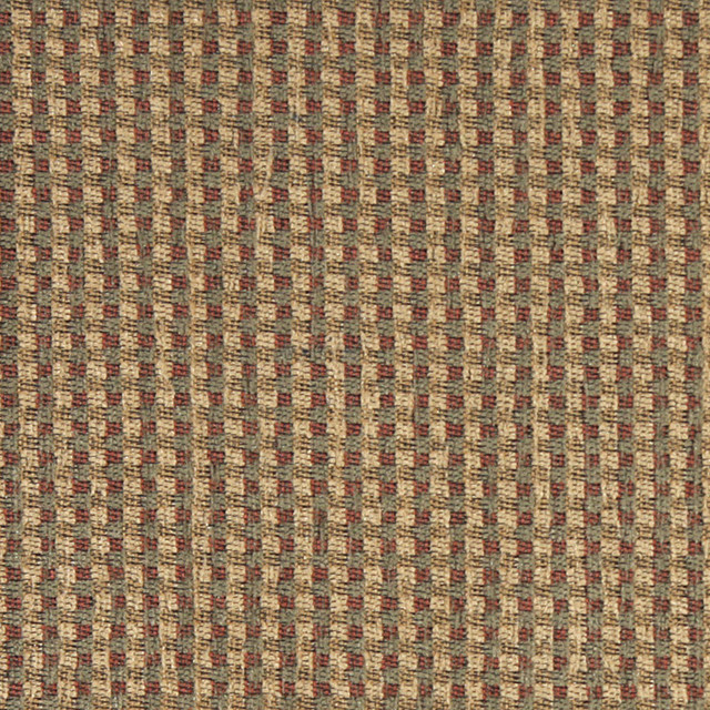 Green Beige And Red Check Southwest Style Upholstery Fabric By The