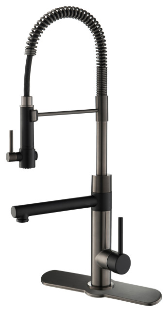 Artec Commercial Style Pull-Down 1-Handle Kitchen Faucet, MBSB, with Deckplate