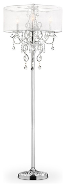 """63"""" Tall Metal Floor Lamp """"Evangelia"""", Silver and Crystal Accents,"""