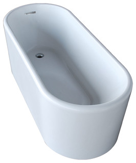 Homemart Products Loire 28 X 67 Oval Acrylic Freestanding Soaker Bathtub With Center Drain