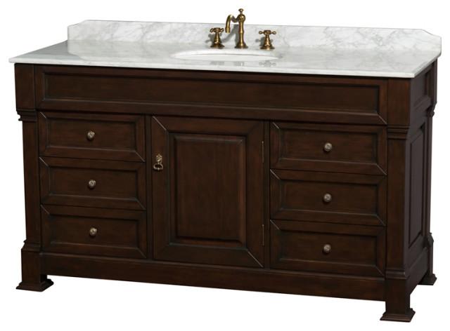 No Mirror No Sink Andover 55 Inch Single Bathroom Vanity in Dark Cherry No Countertop