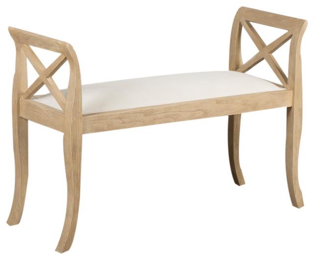 Upholstered Oak Bench, Small.