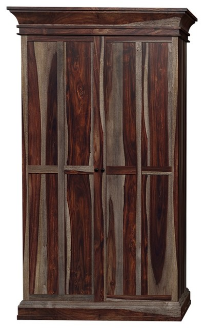 Ohio 76 Rustic Solid Wood Tall Wine Bar Cabinet
