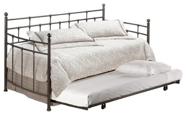Bowery Hill Twin Metal Daybed With Trundle, Antique Bronze.