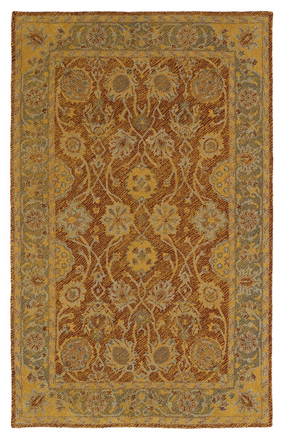 Kaleen Hand-Tufted Weathered Polyester Rug, Brick, 8&x27;x10&x27;.