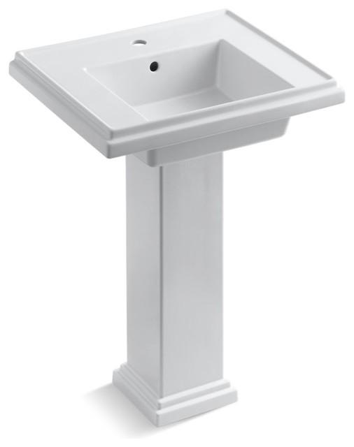 Tresham 24 Pedestal Lavatory With 1-Hole Faucet Drilling, White.