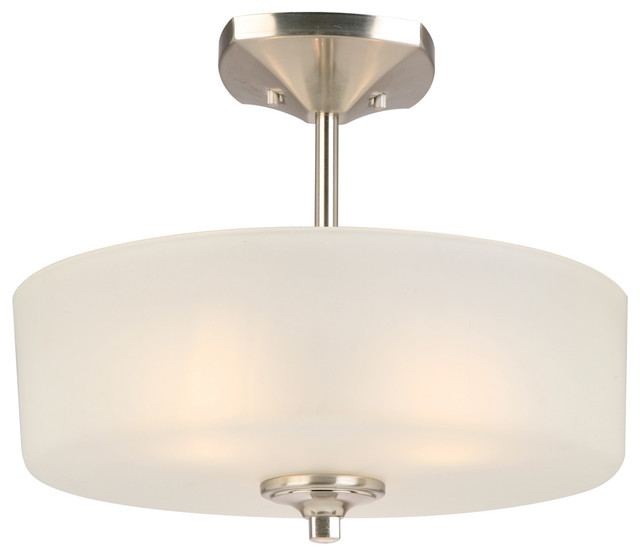 Light Fixtures Perth: Perth 3-Light Flush Mount, Satin Nickel, Frosted White