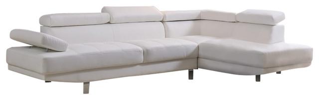 Rangel Elegance Sectional, White, Right-Facing.