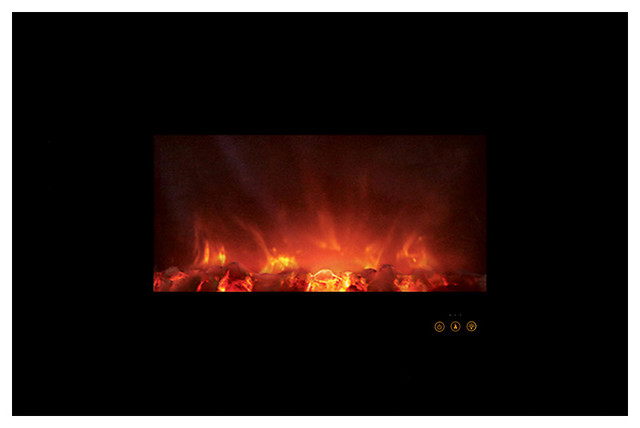 "Ambiance Custom Linear Delux Fireplace 40"", Black Glass Front With Glacier-Diamo."