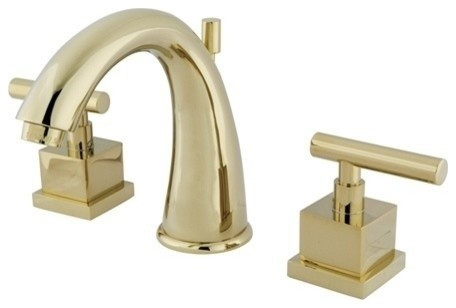 "Claremont 2 Handle 8""-16"" Widespread Faucet, Brass Pop-up, Polished Brass"