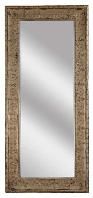 Antiqued Metal Frame Full Length Mirror.