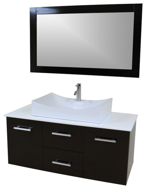 "Modern Contemporary Bathroom Vanity *wall Mount*, Espresso, 47""."