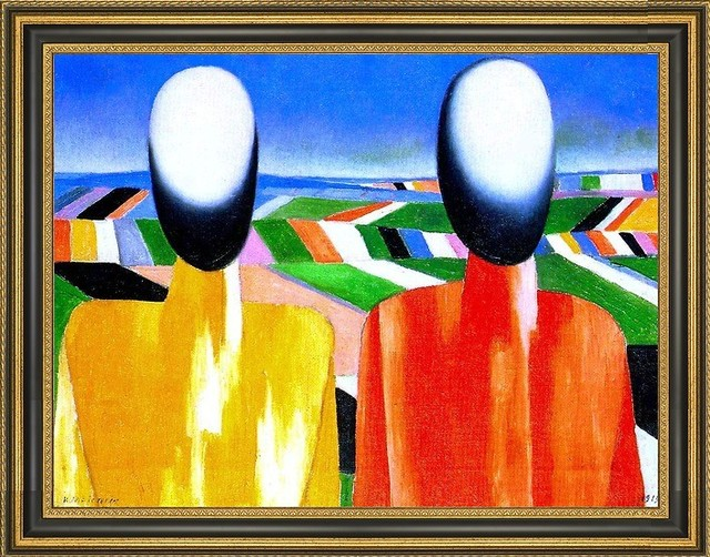 Kazimir Malevich Two Peasants 18 X 24 Framed Premium Canvas Print Contemporary Prints And Posters By Art Megamart