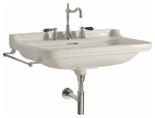 "Waldorf Wall Mounted Ceramic Sink 23.6"", Single Hole"