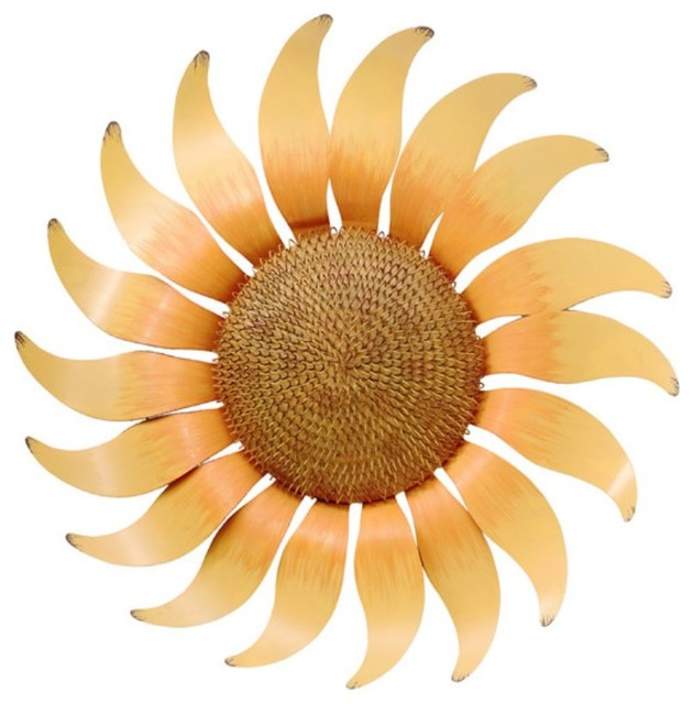 Large Petals Yellow Sunflower Wall Decor Painted Metal 17 Inches