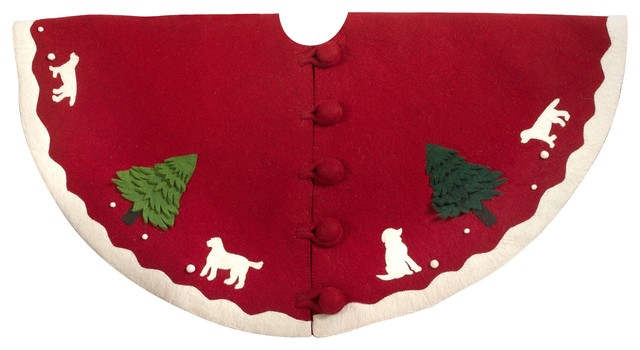 Handmade Christmas Tree Skirt In Hand Felted Wool Dogs With Trees On Red 60