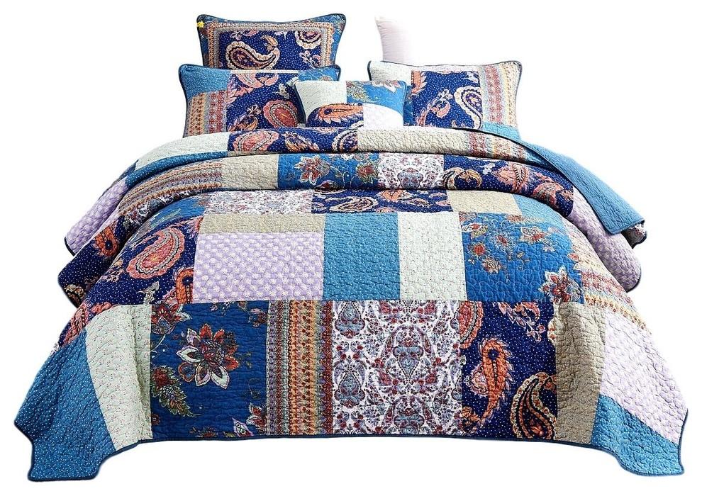 Duvet Quilt Cover Pillowcase Set Reversible Printed Damask Patchwork Paisley