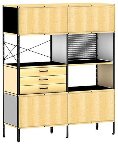 Eames Storage Unit By Herman Miller, 4x2, Neutral, Black