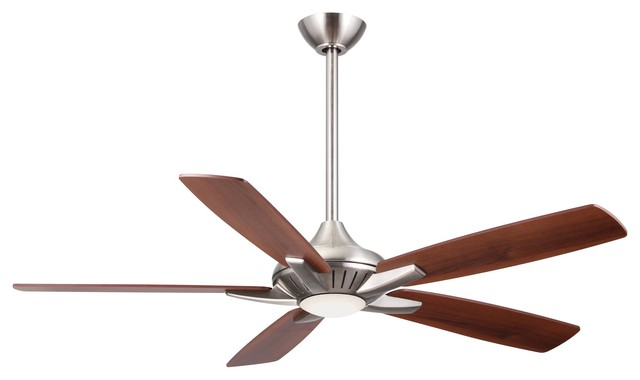 Dyno52in 1 Light Led Bulb Ceiling Fan In Brushed Nickel W/ Etched Lens Glass.