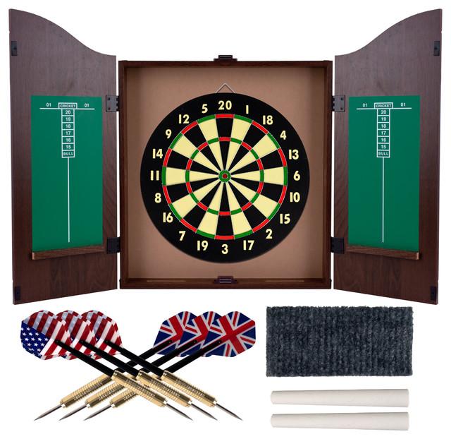 Superbe Dartboard Cabinet Set With Realistic Walnut Finish By Trademark Gameroom
