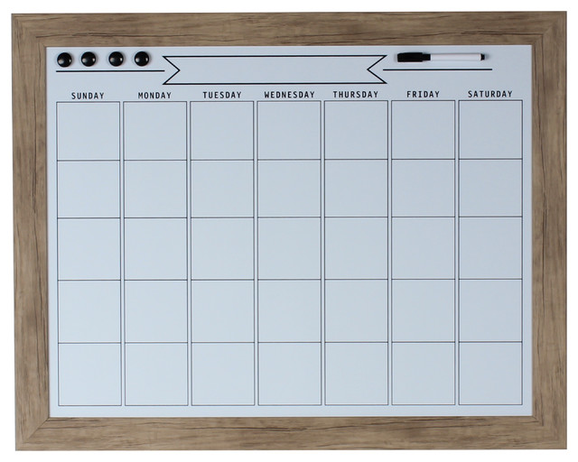 Beatrice Magnetic Dry Erase Monthly Calendar, 23x29, Rustic Brown.