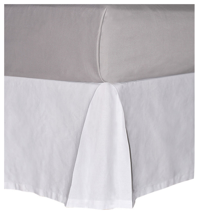 Sea Solid White Cotton Canvas Drop, Queen Size Bed Skirt 15 Drop