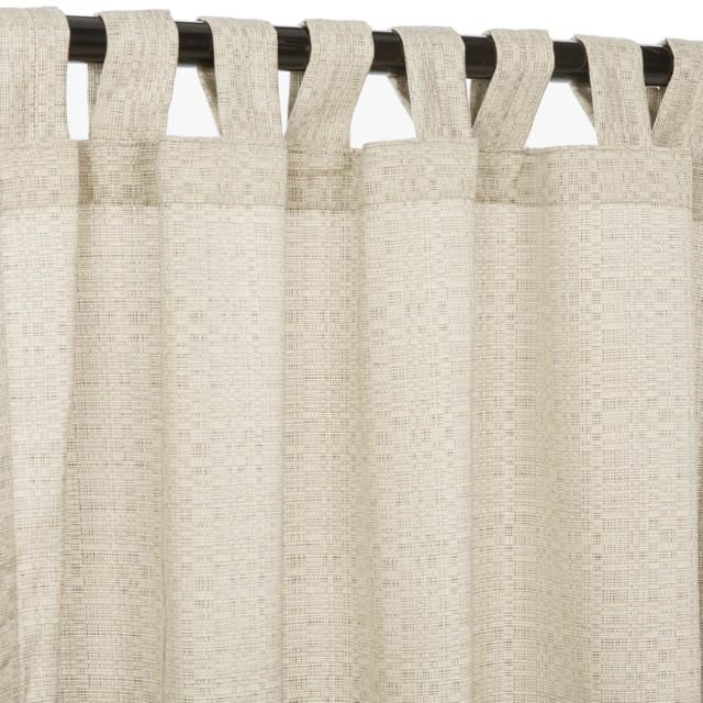 "Sunbrella 84"" Tab Top Outdoor Curtains, Linen Silver."