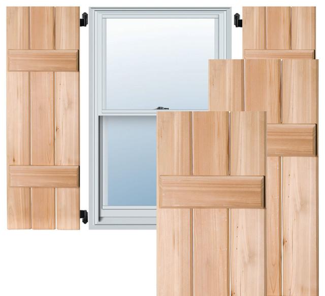 Ekena Millwork 12 X 38 Exterior 3 Board Sapele Mahogany Board N Batten Shutters Black