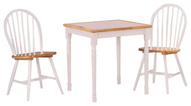 Damen 3 Piece Tile Top Dining Set Natural And White Midcentury Dining Sets By U Buy Furniture Inc