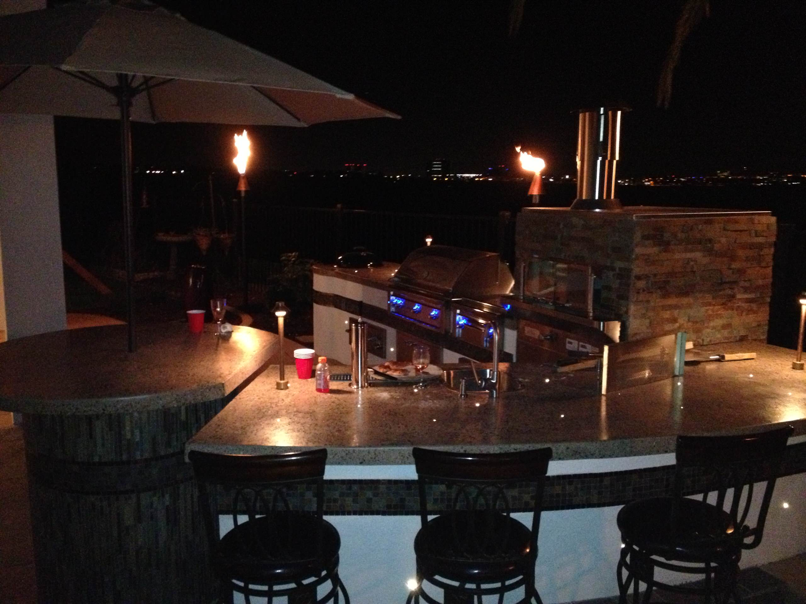 Carmel Valley Outdoor Kitchen with Countertop Lights