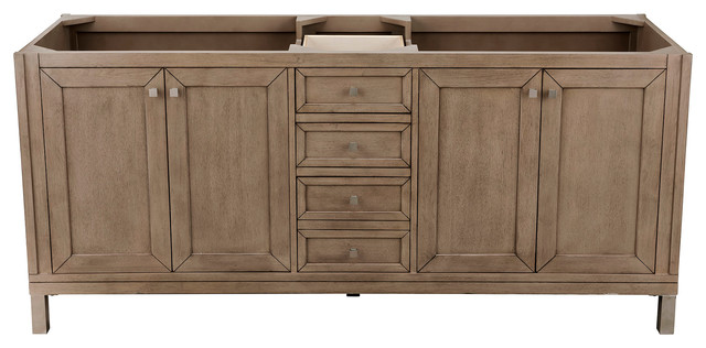 Chicago 72 White Washed Walnut Double Vanity Transitional