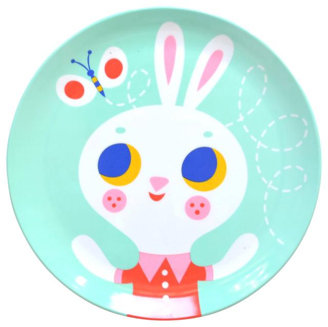 Helen Dardik Melamine Bunny Rabbit on Mint Plate  sc 1 st  Houzz & Helen Dardik Melamine Bunny Rabbit on Mint Plate - Modern - Dinner ...