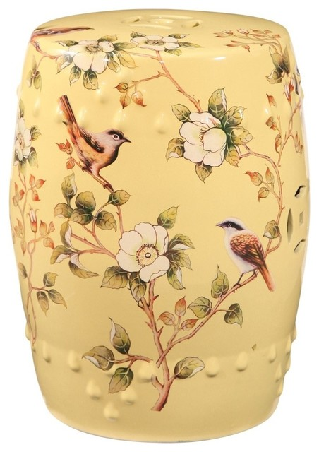Superb Abbyson Living Drea Hand Painted Floral Ceramic Gardent Stool Pale Yellow Lamtechconsult Wood Chair Design Ideas Lamtechconsultcom