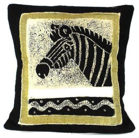 Handmade Black And White Zebra Batik Cushion Cover.