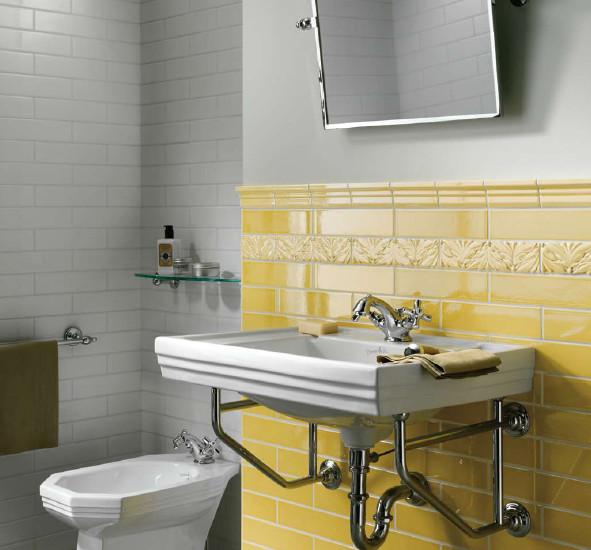 Bathroom Walls Sweating Yellow: Grazia Listelli Oro / Bianco Wall Tiles