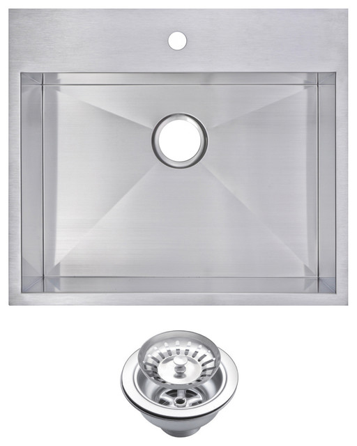 Zero Radius Single Bowl Drop In Kitchen Sink With Drain And Strainer