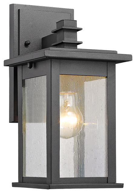 Saratoga Outdoor Wall Sconce, Textured Black.