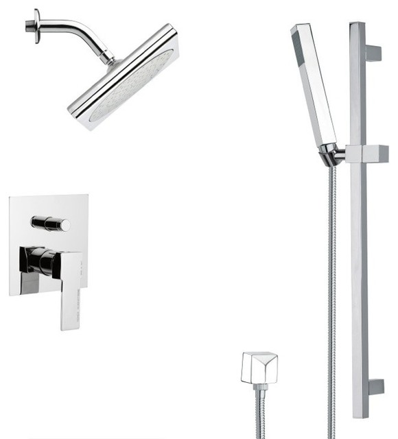 Shop Houzz Nameeks Chrome Square Shower Faucet Set Tub And Shower Faucet
