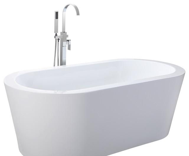HelixBath Pella Freestanding Acrylic Modern Bathtub 59 White