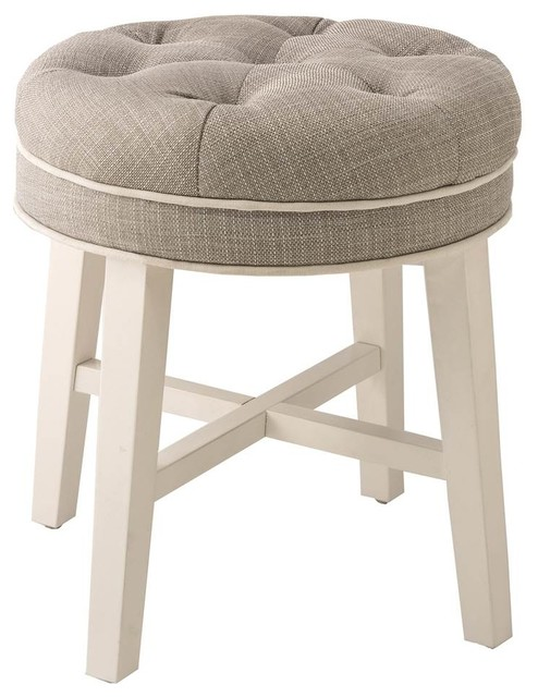 Vanity Stool With Spa Fabric Transitional Vanity