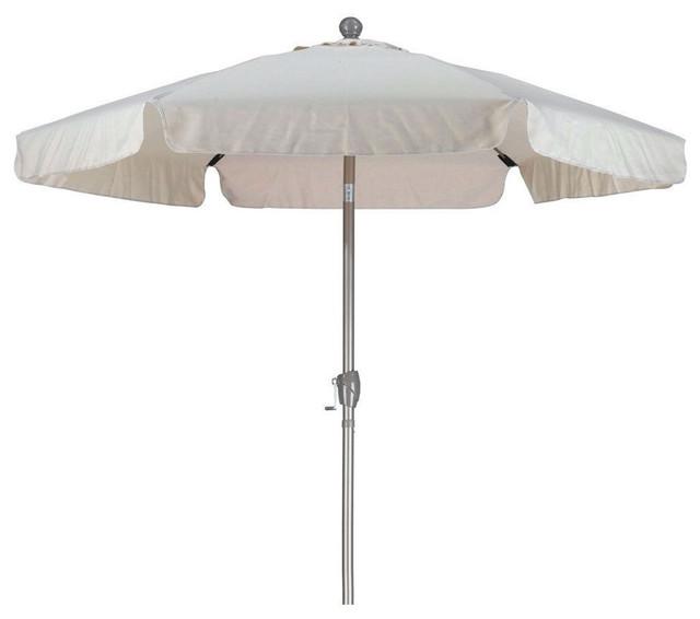 Antique Beige 7.5&x27; Off-White Patio Umbrella With Push Button Tilt.
