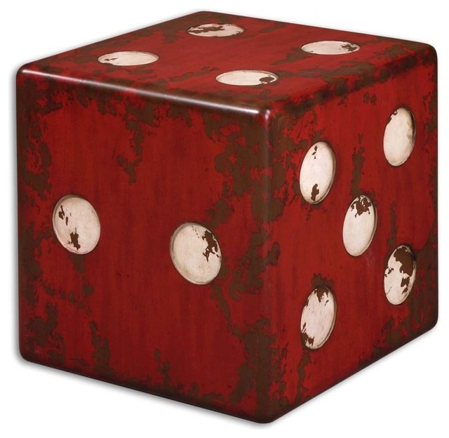 Uttermost Dice Red Accent Table Eclectic Side Tables And End Tables