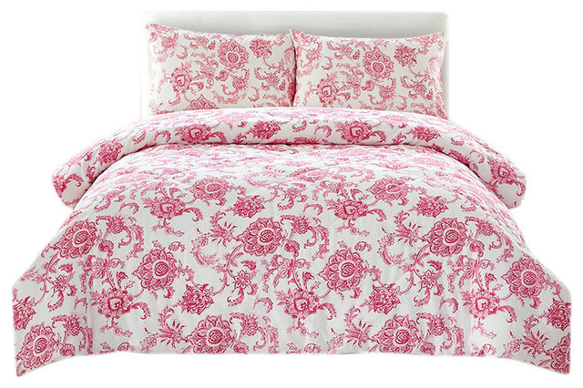 Peach Couture Home Collection Floral Dream 3 Pcs Comforter